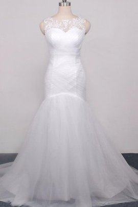 Natural Waist Lace Capped Sleeves Tulle Sweetheart Wedding Dress