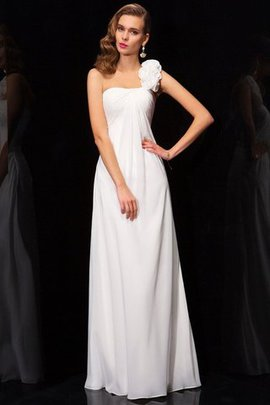 Pleated One Shoulder Zipper Up Natural Waist Long Prom Dress
