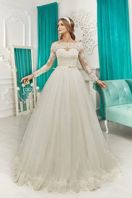 A-Line Simple Natural Waist Tulle Off The Shoulder Wedding Dress