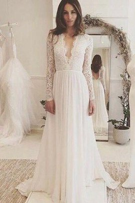 A-Line Long Sleeves Elegant & Luxurious Beach Wedding Dress