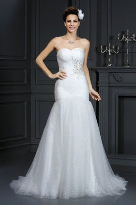 Lace-up Sweetheart Sheath Beading Sleeveless Wedding Dress
