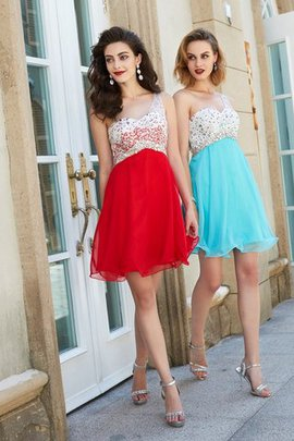 Empire Waist A-Line Short Sleeveless Beading Prom Dress