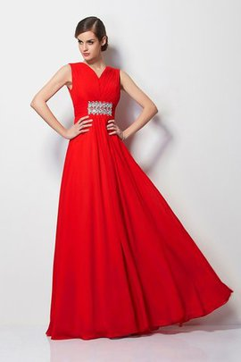 Chiffon Long Sheath Floor Length Empire Waist Prom Dress