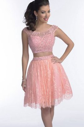 Pleated 2 Piece Short Beading Zipper Up Prom Dress