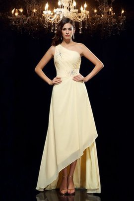 Asymmetrical Princess One Shoulder Natural Waist Beading Prom Dress
