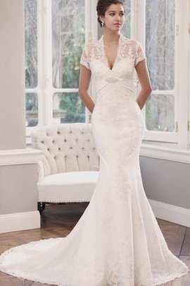 Short Sleeves Natural Waist Floor Length Lace Wedding Dress