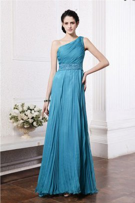 Beading Pleated Chiffon Long Zipper Up Bridesmaid Dress