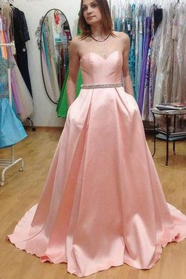 Pleated A-Line Sweep Train Taffeta Zipper Up Prom Dress