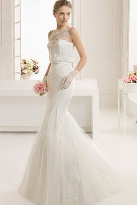 Rectangle No Waist Sheer Back Lace Bow Wedding Dress