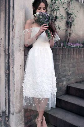 Short Sleeves Swing Natural Waist Rectangle Tea Length Wedding Dress
