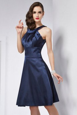 Natural Waist Sleeveless Knee Length Elastic Woven Satin Pleated Bridesmaid Dress