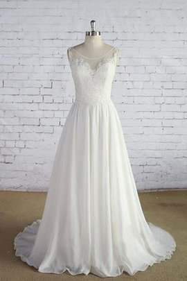 Simple Deep V-Neck Pleated Scoop Sweep Train Wedding Dress