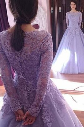 Fascinating Long Sleeves Jewel Lace Tulle Natural Waist Ball Gown Prom Dress