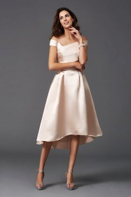 High Low Natural Waist Satin Princess Bridesmaid Dress