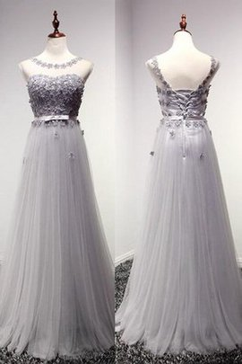 Lace-up Tulle Simple Capped Sleeves Short Sleeves Prom Dress