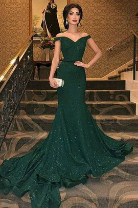 Off The Shoulder Natural Waist Sweep Train Mermaid Ruffles Sequins Honorable Evening Dress
