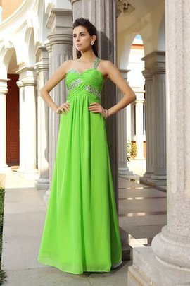 Sleeveless One Shoulder Chiffon Zipper Up Floor Length Prom Dress