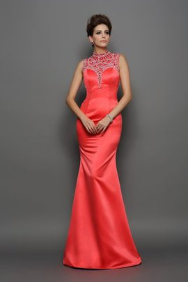 Beading Natural Waist Long Mermaid Satin Evening Dress