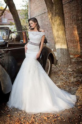 Off The Shoulder Chapel Train Long Natural Waist Lace Wedding Dress