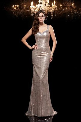 Beading Sleeveless Wide Straps Sweep Train Evening Dress