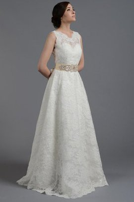 Floor Length Lace Fabric Natural Waist Deep V-Neck Wedding Dress
