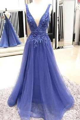 A-Line Princess Tulle V-Neck Appliques Natural Waist Exquisite Party Dress