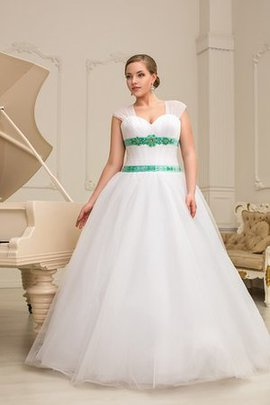 Sweetheart Floor Length Ruched Short Sleeves Natural Waist Wedding Dress
