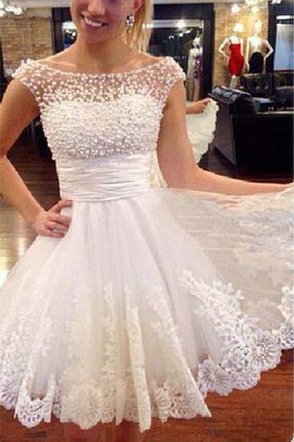 Lace Chic & Modern Pleated Short Sleeveless Wedding Dress