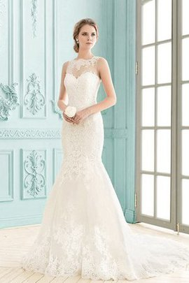 Simple Lace Fabric Appliques Court Train Mermaid Wedding Dress