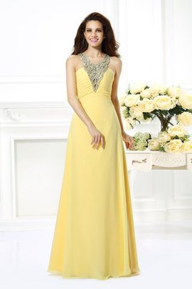 Sleeveless Floor Length A-Line Beading V-Neck Prom Dress
