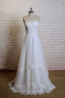 Sweetheart A-Line Floor Length Tulle Sweep Train Wedding Dress