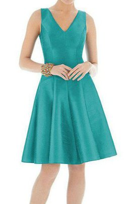 Zipper Up V-Neck Knee Length Satin A-Line Bridesmaid Dress