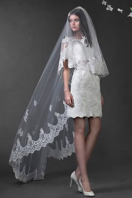Lace Chapel Train Bow Capped Sleeves Wedding Dress