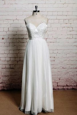 Sleeveless Natural Waist Beach Jewel A-Line Wedding Dress