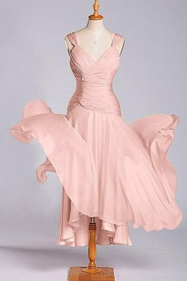 Capped Sleeves Chiffon A-Line Tea Length Pleated Bridesmaid Dress