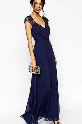 Lace V-Neck Capped Sleeves Ankle Length Bridesmaid Dress
