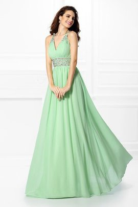 Long Wide Straps Chiffon Floor Length Natural Waist Prom Dress