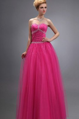 Long Strapless Lace-up Beading Tulle Evening Dress
