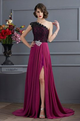 A-Line Long Sweep Train One Shoulder Evening Dress