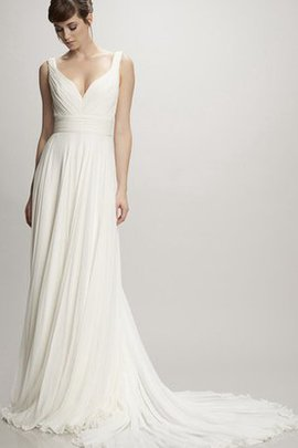 Floor Length Court Train Ruched Chiffon Wedding Dress