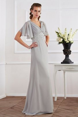 V-Neck Sheath Zipper Up Natural Waist Floor Length Evening Dress