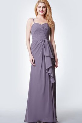 Floor Length Vintage Ruffles Long Spaghetti Straps Bridesmaid Dress