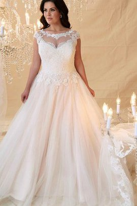 A-Line Romantic Capped Sleeves Keyhole Back Wedding Dress