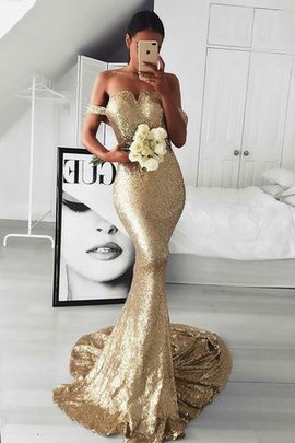 Off The Shoulder Sleeveless Sequins Natural Waist Wonderful Sweep Train Evening Dress