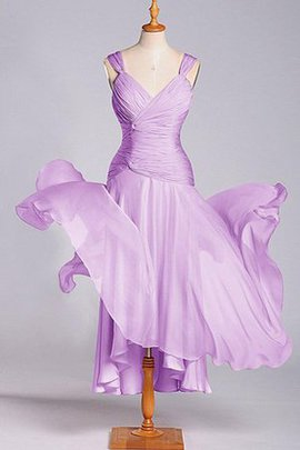 A-Line Pleated Dropped Waist Chiffon V-Neck Bridesmaid Dress