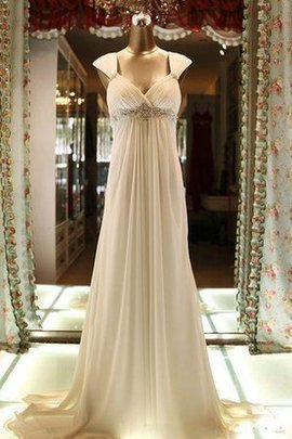Sweep Train Beach Chiffon Empire Pleated Wedding Dress
