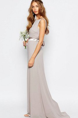 Floor Length Simple Bateau Vintage Sheath Bridesmaid Dress