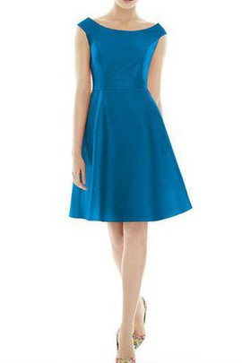 Knee Length Capped Sleeves Satin A-Line Bridesmaid Dress
