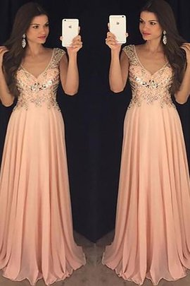 V-Neck Natural Waist Sleeveless A-Line Evening Dress