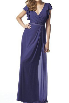 Sleeveless Sheath Chiffon V-Neck Floor Length Bridesmaid Dress